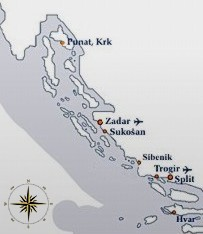 Croatian coast map - charter bases