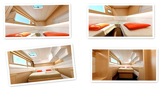 Yacht lagoon 450 interior - forward and aft cabins