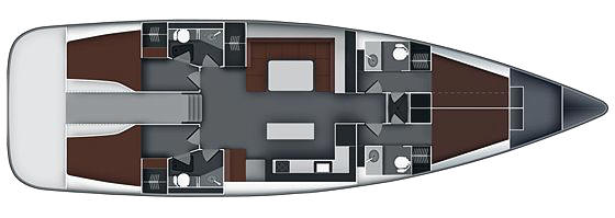 Bavaria 55 Cruiser 4 cabins version layout