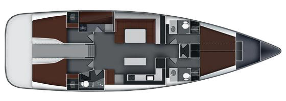 Bavaria Cruiser 55 layout - 5 cabins
